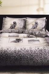Lenjerie de pat din bumbac satinat Tac Savana gri - 2 persoane