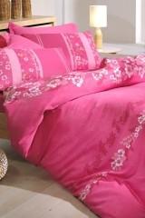 Lenjerie de pat din bumbac satinat Tac Vera roz - 1 persoana